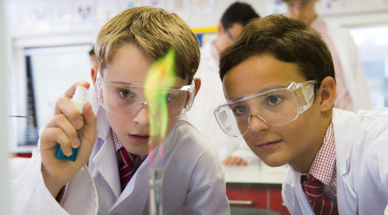 Students using a Bunsen burner
